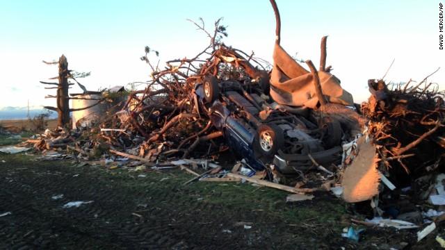 An overturned car in Washington, IL
