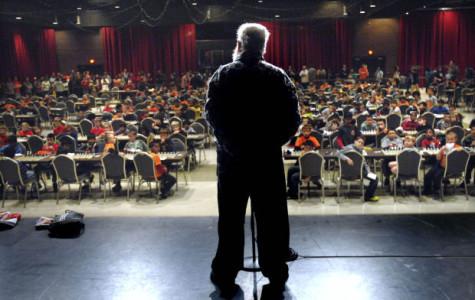 Garrett Scott, founder of the ISU chess tournament presents a speech on the civil rights activist.