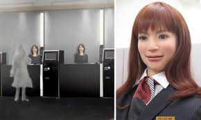 | One of Henna-na Hotel's new lifelike robot employees |