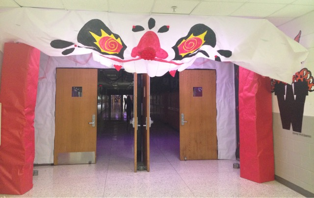 Homecoming decorations for the senior hallway