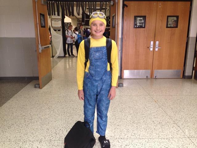 Freshman Justin Endsley dressed as a minion