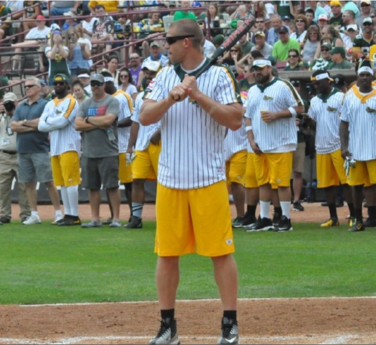 Jordy Nelson up to bat at the Jordy Nelson Charity Softball Game