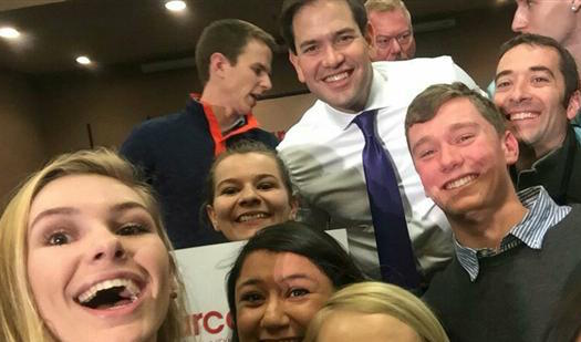 Various Wildcats pose with presidential hopeful Marco Rubio.
