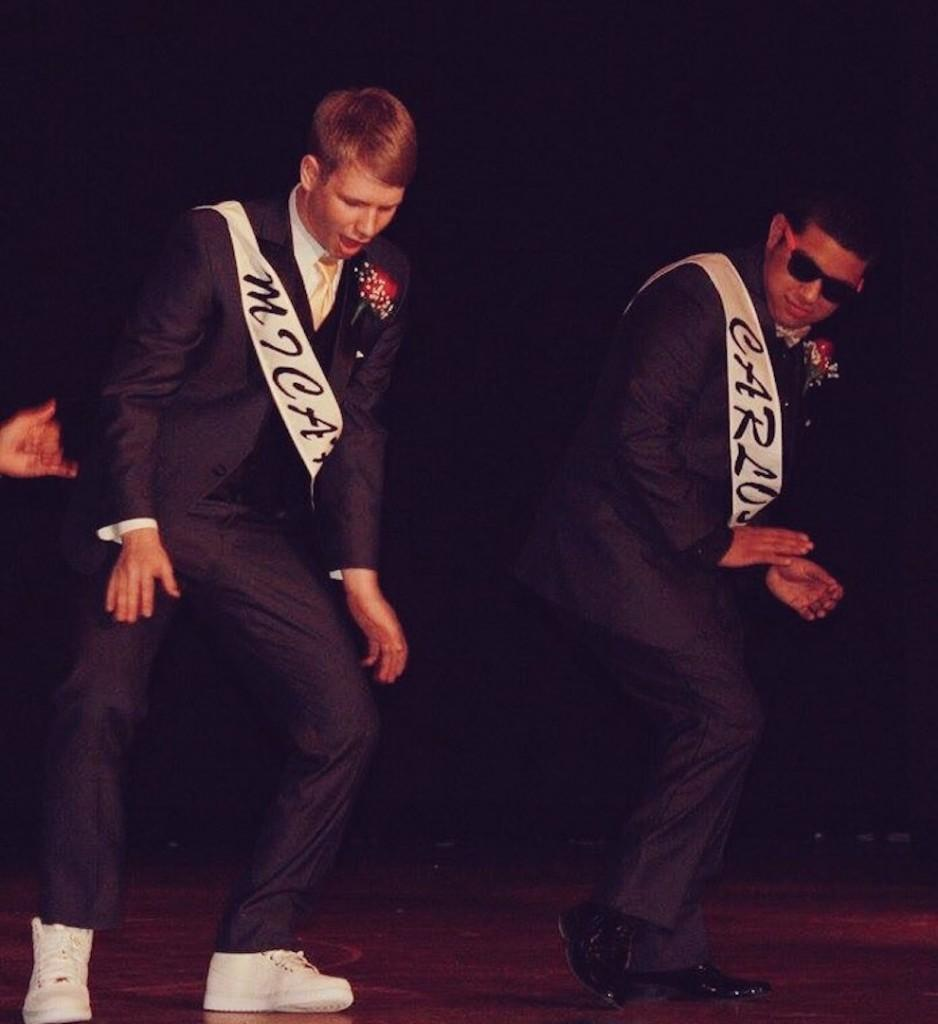 King of Hearts 2016 junior contestants Micah Johnson (left) and Carlos Torres (right) dance to Drake's hit song,
