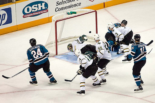 Goaltender interference results in disallowed goal during Stars/Sharks game. Photo credit by Pointnshoot