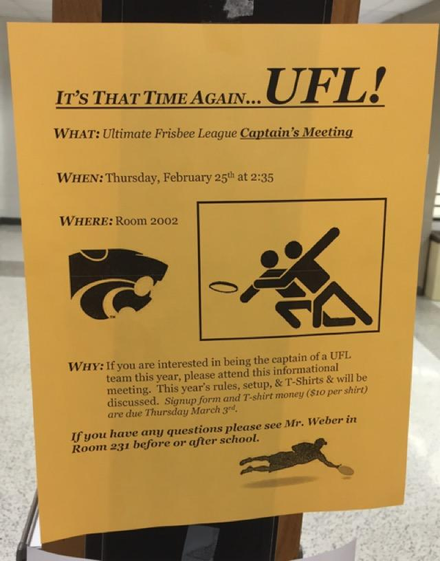 UFL posters being put up around school to let students know the season is approaching
