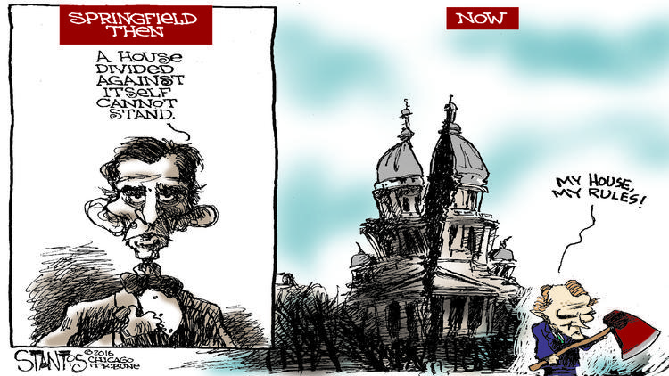 Political cartoonist, Scott Stantis, alludes to the idea that Illinois House Speaker Micheal Madigan is only furthering the economic crisis; despite the positive portrayal of him in the media.