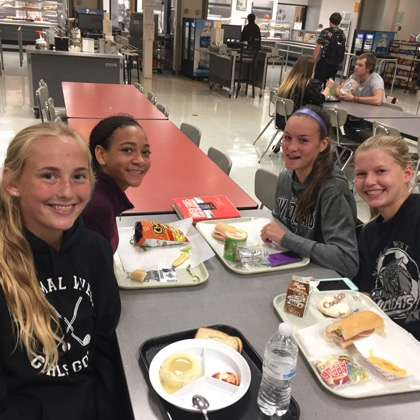Left to right, front to back. Alyssa Watson ( 10 ), Jess Heib ( 10 ), Olivia Teplitz-Crawford ( 10) ,  Madison Bergeron (10) discussing their thoughts on the lunch with us.