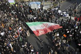 Photo of a large crowd of Iranian protesters in the city of Mashhad in northern Iran.