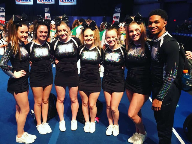 The seven senior cheerleaders, (left to right) Cailey Kutchma, Audrey Stoewer, Cameron Upton, Ariel Miller, Jenna Breen, Kendahl Whitwood, and Isaiah Shifflett, will be recognized before the game Friday night.
