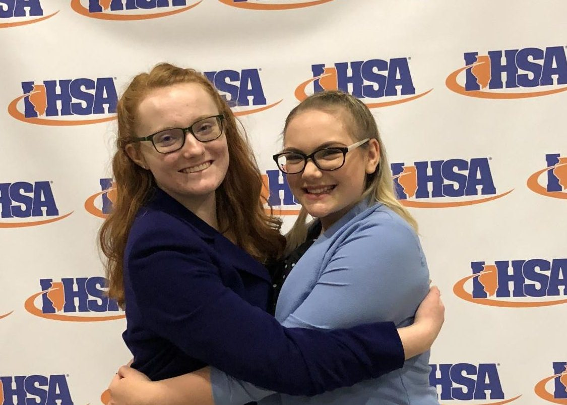 The two speech state qualifiers Sarah Shaw and Maggie McHale pose at the state competition.