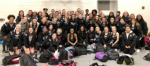 Girls track team before first meet on March 3rd.  Photo taken by Coach Copple.