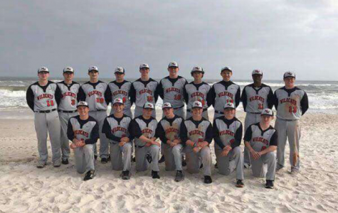 The 2018 Normal West baseball team lines up for team picture on the beach in Gulf Shores.