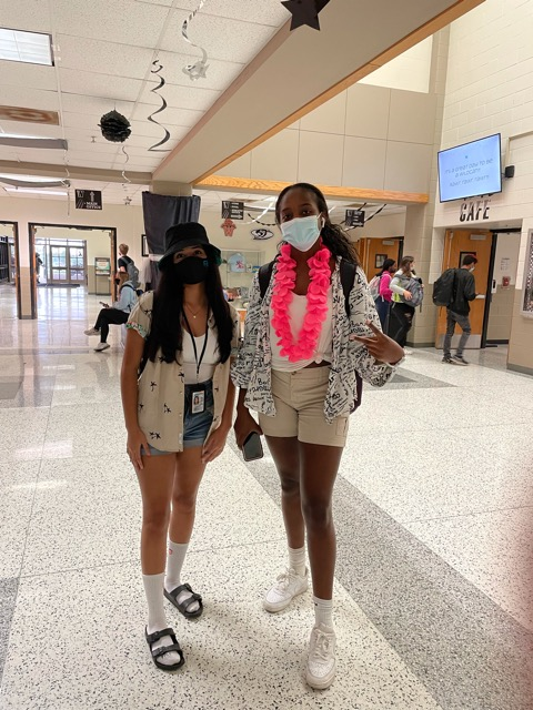 Julianna Navarro and Laure Diamonika dressed as Tourists for homecoming week.