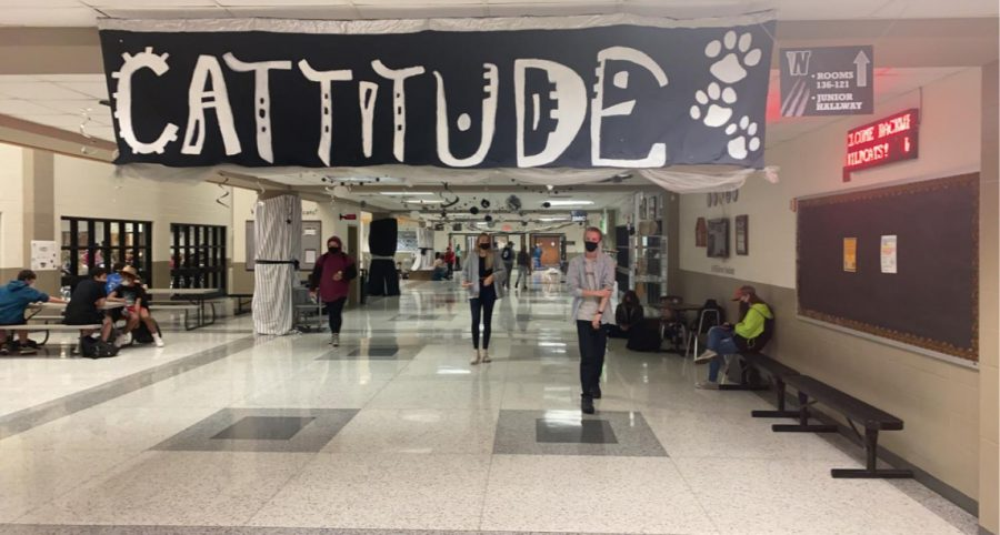 Main atrium dressed in words of spirit from top to bottom.